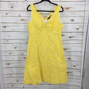 Boden cotton sundress yellow floral lined a-line